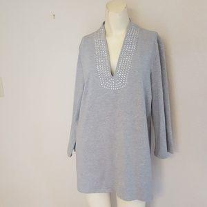 Jones New York XL grey long sleeve cotton top